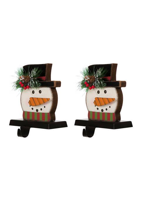 Glitz Home 2 Pack Wooden/Metal Snowman Head Stocking
