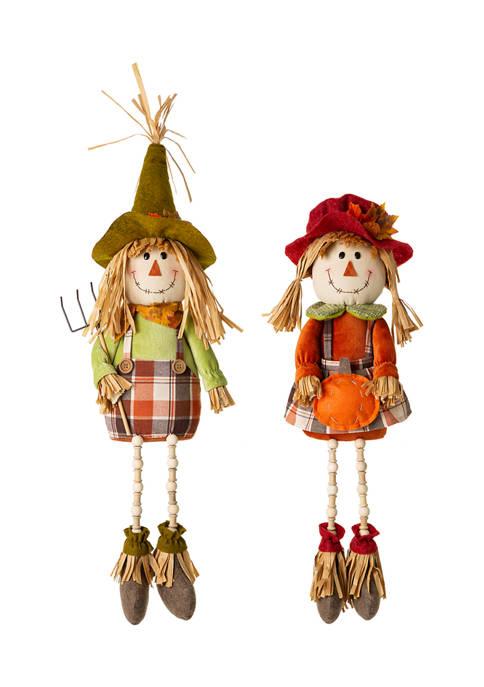 Glitz Home Set of 2 Fall Fabric Scarecrow