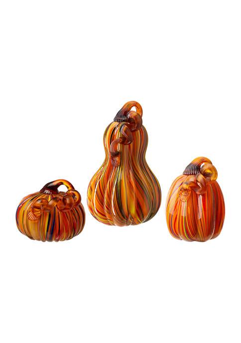 Multi Striped Glass Pumpkin & Gourd