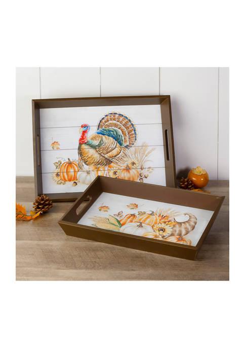 Glitz Home Set of 2 Thanksgiving Wooden Turkey