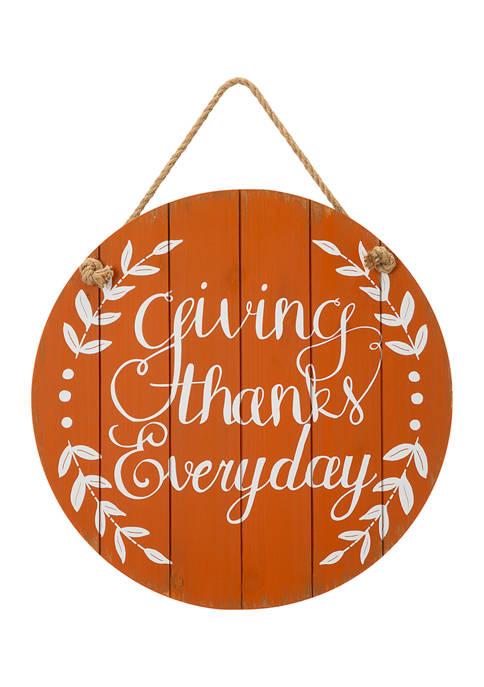 Glitz Home Orange Wooden Thanksgiving Wall Sign