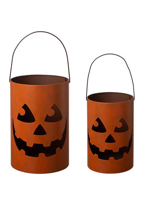 Set of 2 Halloween Jack O Lantern Bucket