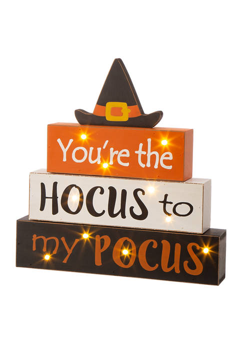 Halloween Wooden Lighted Witch/Word Block Table Décor