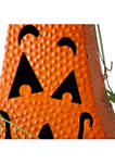 Halloween Metal Jack-O-Lantern with LED Pillar