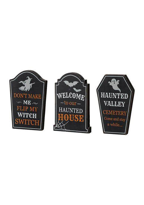 Set of 3 Halloween Wooden Tombstone Table Signs