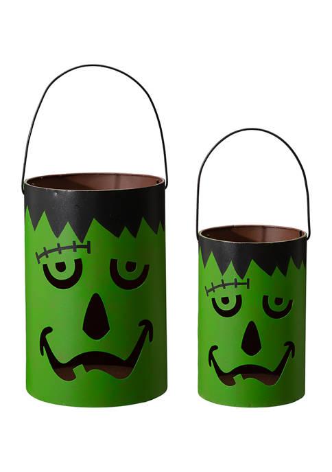 Set of 2 Black Halloween Metal Frankenstein Buckets