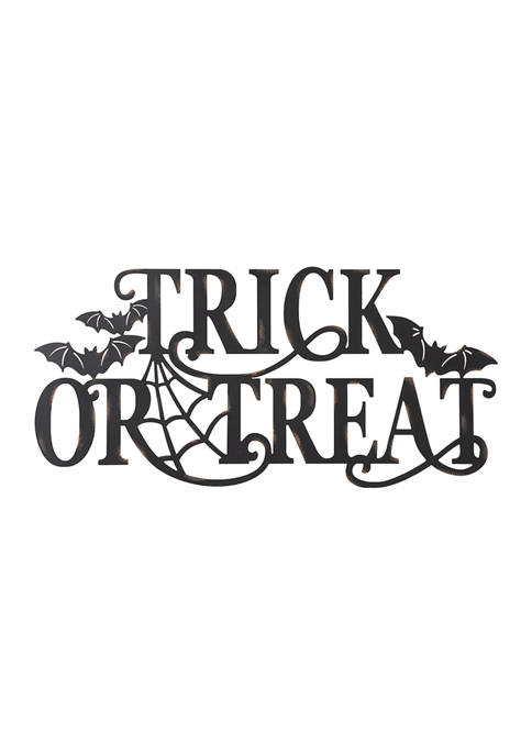 """Halloween Metal """"Trick or Treat"""" Wall Sign"""