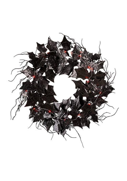 Lighted Halloween Bat Wreath