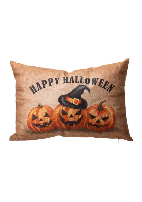 Faux Burlap Happy Halloween Pumpkin Pillow