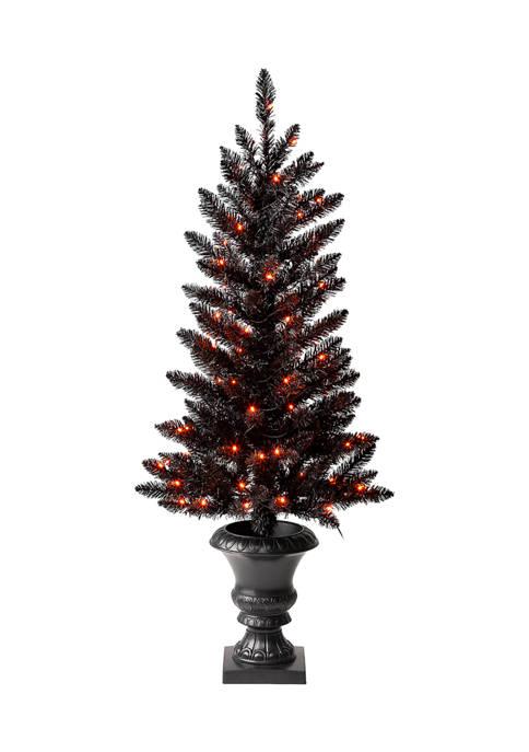 Lighted Black PVC Tips Porch Tree with 100 LED Orange Lights