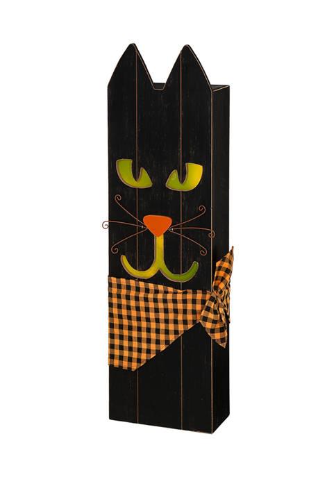 Lighted Wooden Black Cat Porch Décor