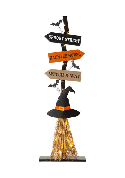 Lighted Wooden Witchs Broom Porch Décor