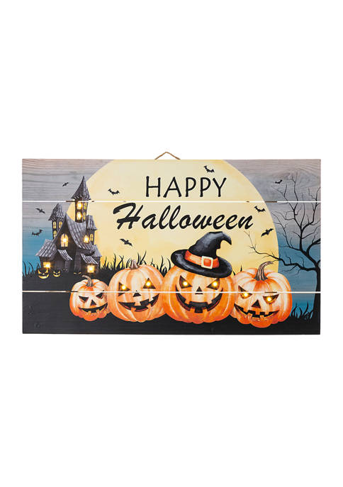 Glitz Home Halloween Wooden Wall Décor with LED