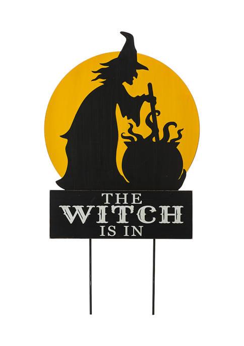 "Glitz Home Halloween Wooden & Metal ""Witch is"
