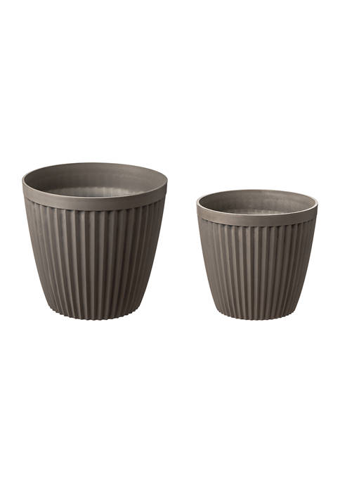 Set of 2 Round Faux Concrete Planter