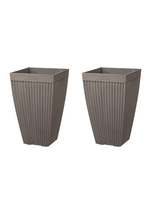 Set of 2 Tall Faux Concrete Planter