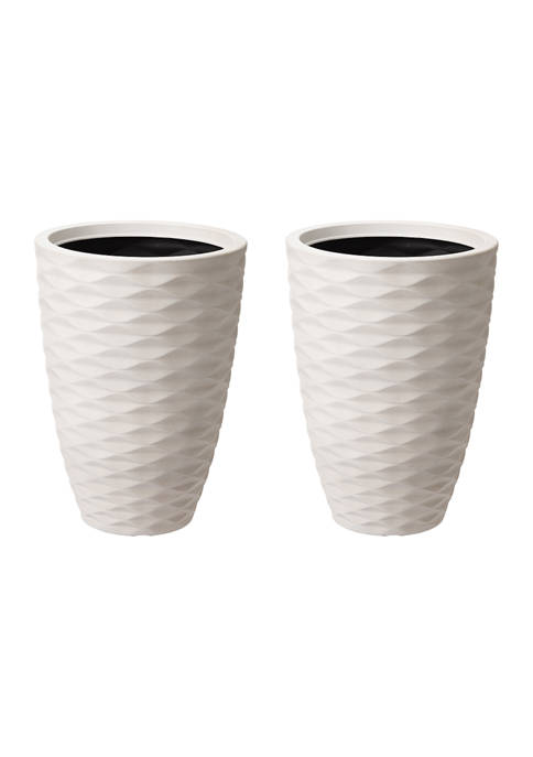 Set of 2 Ribbed Tall Round Planters