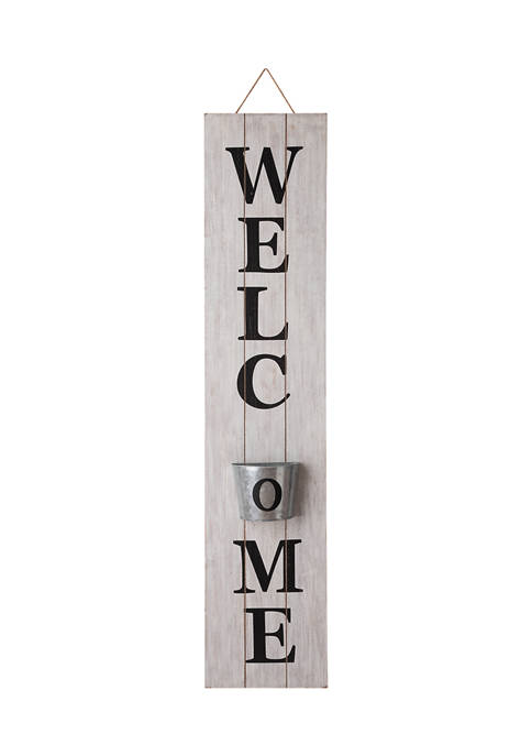 Welcome Planter Wall Sign