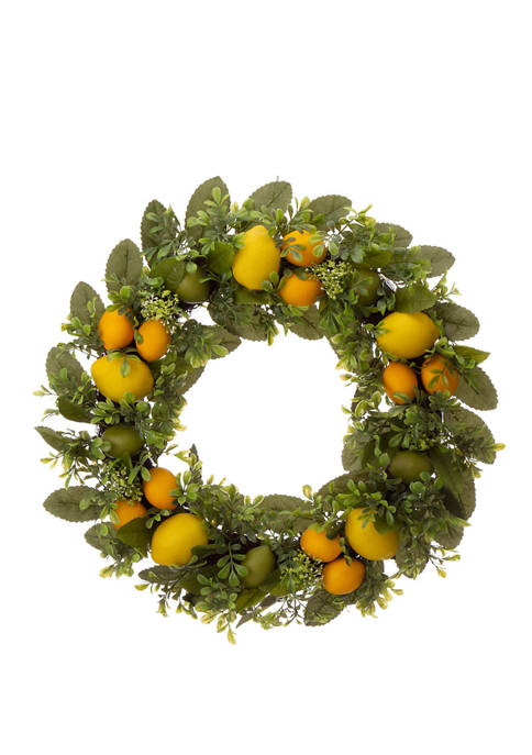 Glitz Home Artificial Greenery Lemon Wreath