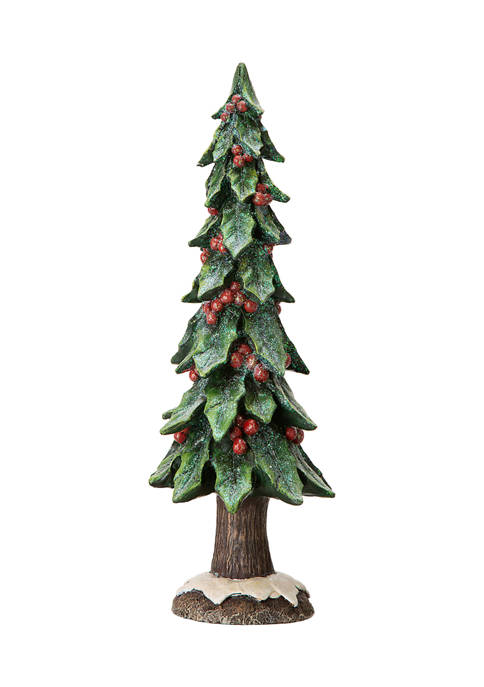 Glitz Home Resin Christmas Red Berry Table Tree