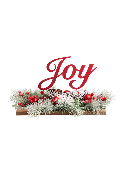 Glitz Home Christmas Metal Sign Floral/Centerpiece