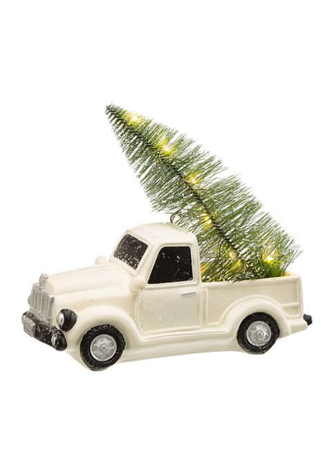 Glitz Home Lighted White Truck Table Décor