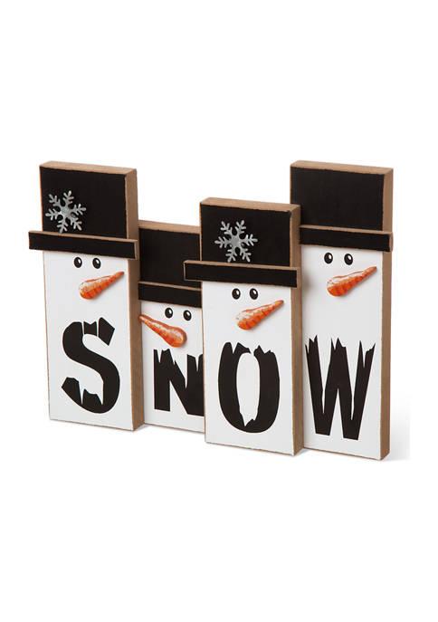 Glitz Home Wooden Christmas Snowman Family Table Décor