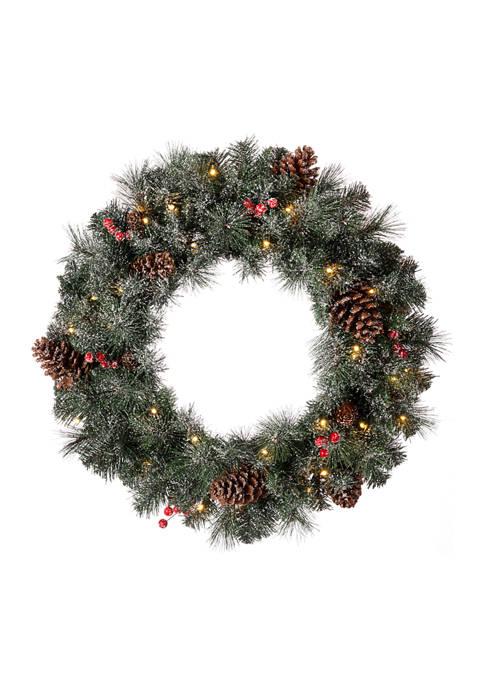 Glitz Home Pre-Lit Glittered Pine Cone Christmas Wreath
