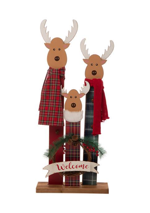 Glitz Home Wooden Deer Family Porch Décor