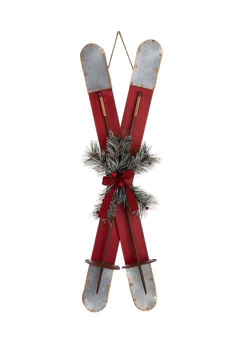 Glitz Home Red Wooden/Galvanized Ski Porch Décor