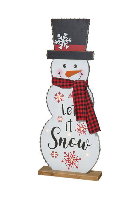 Glitz Home Lighted Wooden Christmas Snowman Porch Décor