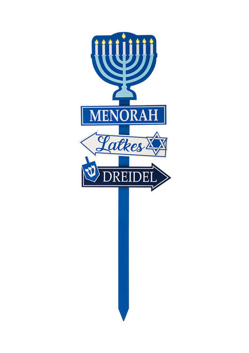 Glitz Home Wooden Hanukkah Yard Stke with Light