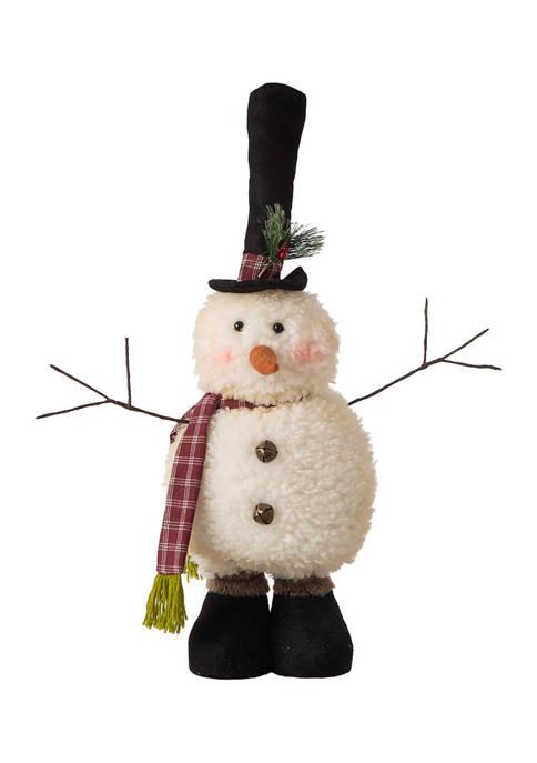Glitz Home Telescoped Fabric Christmas Snowman Standing