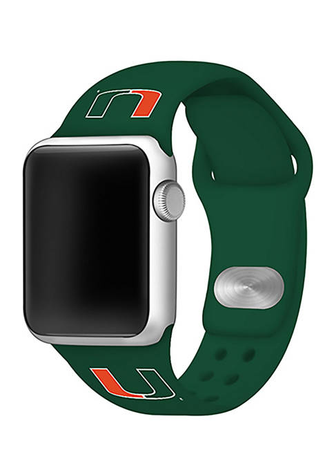 NCAA Miami Hurricanes Silicone Apple Watch Band 38 Millimeter