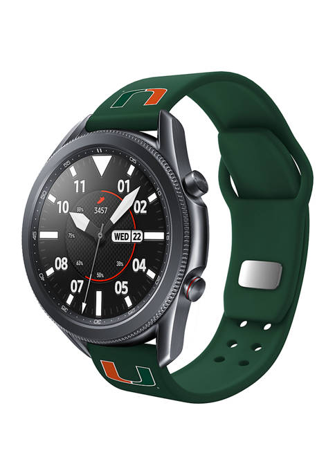 NCAA Miami Hurricanes 20 Millimeter Silicone Band Compatible with Samsung Watch