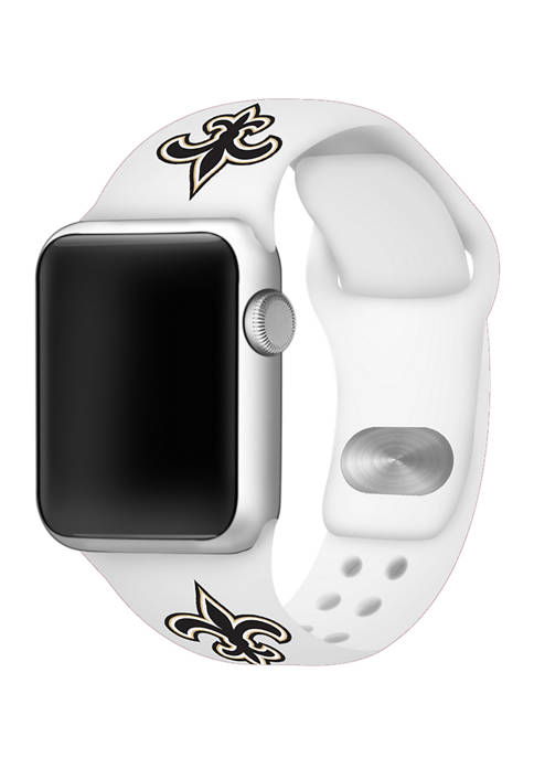 NFL New Orleans Saints 42 Millimeter Silicone Apple Watch Band