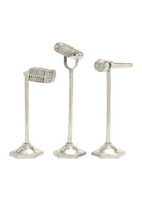 Set of 3 Aluminum Traditional Microphone Sculpture