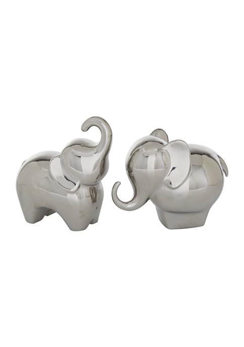 Set of 2 Porcelain Contemporary Elephant Sculpture