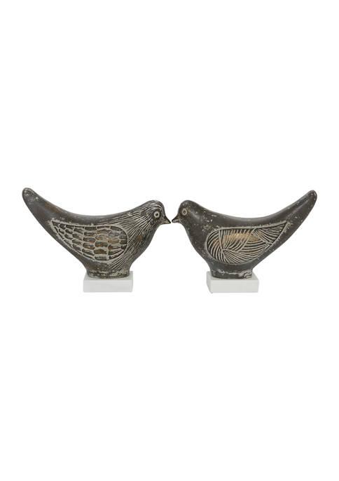 Set of 2 Ceramic Country Cottage Bird Sculpture