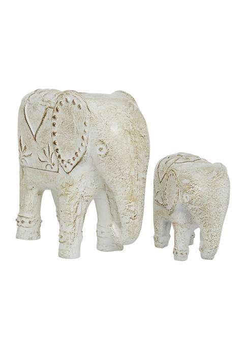 Set of 2 Ceramic Country Cottage Elephant Sculpture