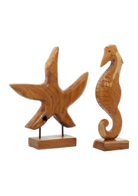 Set of 2 Teak Wood Natural Sculpture