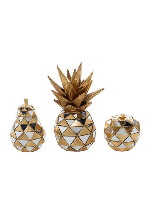 Set of 3 Polystone Contemporary Fruit Sculptures