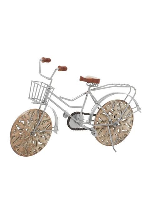Vintage Metal and Wood Bicycle Sculpture