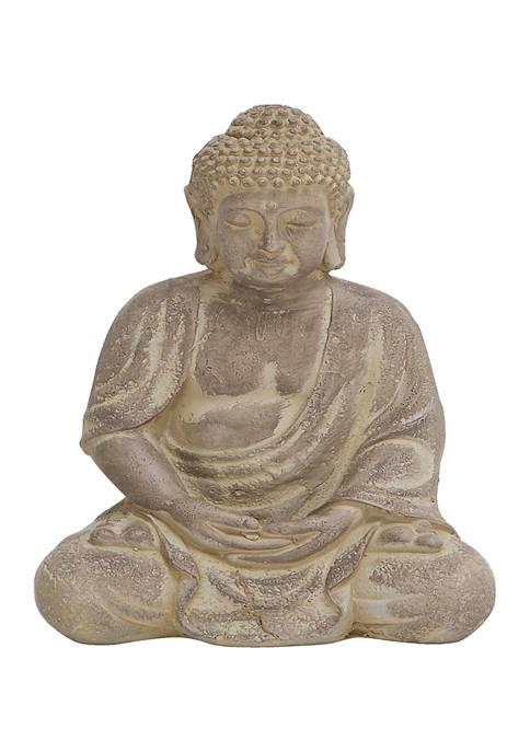 Tan Bohemian Ceramic Buddha Sculpture