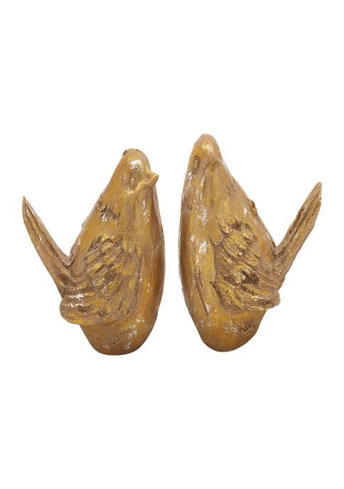 Set of 2 Farmhouse Polystone Bird Sculptures