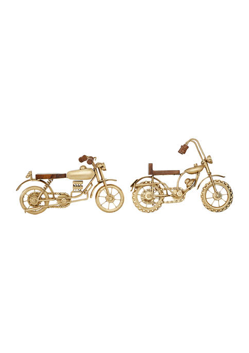 Set of 2 Metal Contemporary Motorcycle Sculpture