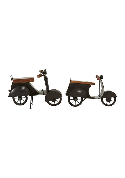 Set of 2 Metal Contemporary Scooter Sculpture