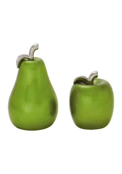 Set of 2 Dolomite Glam Fruit Sculpture