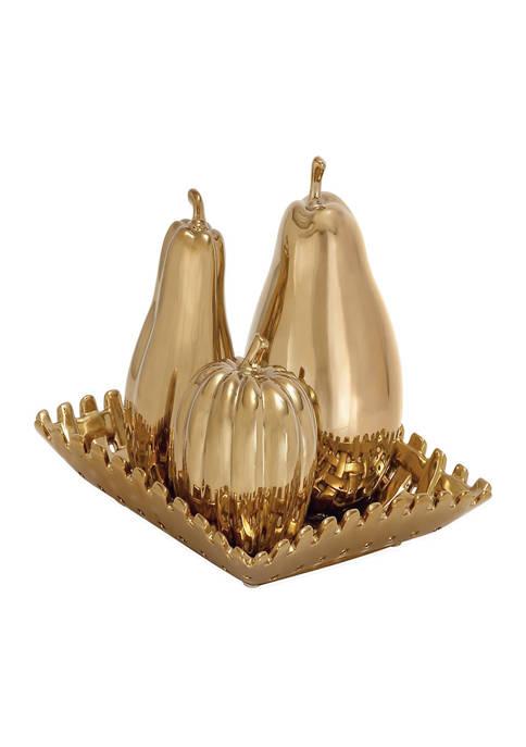Set of 4 Ceramic Glam Fruit Sculpture