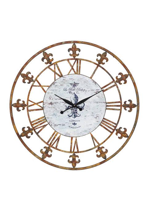 Round Brown Fleur-De-Lis Accent Wall Clock, 36 in L x 36 in H